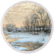 Golden Sunrise Signed Round Beach Towel
