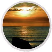 Round Beach Towel featuring the photograph Golden Sunset At The Beach IIi by Mariola Bitner