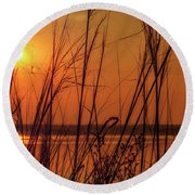 Golden Sunset At The Lake Round Beach Towel
