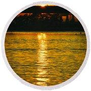 Round Beach Towel featuring the photograph Golden Sunset Behind Bridge by Mariola Bitner