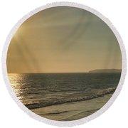 Golden Sunset Round Beach Towel