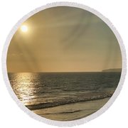 Round Beach Towel featuring the photograph Golden Sunset by Brian Eberly