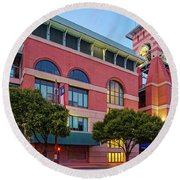 Golden Sunset Glow On The Facade Of Minute Maid Park - Downtown Houston Harris County Texas Round Beach Towel