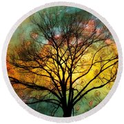 Golden Sunset Treescape Round Beach Towel