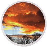 Golden Sunset With Filigree Trees Round Beach Towel