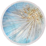 Round Beach Towel featuring the mixed media Golden Sunshine by Angela Stout