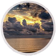 Golden Surf - Point Dume, California Round Beach Towel