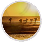 Round Beach Towel featuring the photograph Golden Surfers by Mitch Shindelbower