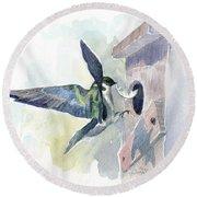 Golden Swallow Round Beach Towel