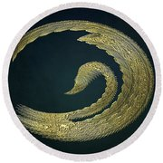 Golden Swan Abstract Round Beach Towel