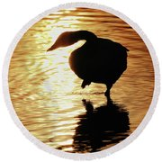 Golden Swan Round Beach Towel