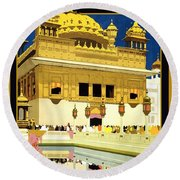 Golden Temple Amritsar India - Vintage Travel Advertising Poster Round Beach Towel