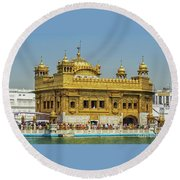 Golden Temple Punjab India With Clear Sky 2 Round Beach Towel