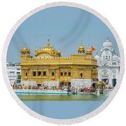 Golden Temple Punjab India With Clear Sky Round Beach Towel