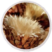 Round Beach Towel featuring the digital art Golden Thistle II by Bill Gallagher