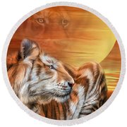 Golden Tiger Round Beach Towel