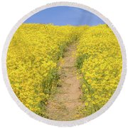 Round Beach Towel featuring the photograph Golden Trail by Marc Crumpler