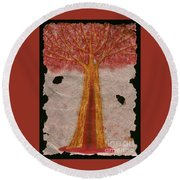 Golden Trees Crying Tears Of Blood Round Beach Towel