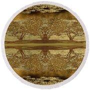 Golden Trees Reflection Round Beach Towel