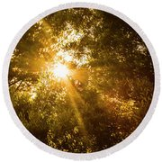 Golden Treetops Round Beach Towel