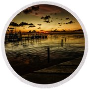 Golden Twilight Round Beach Towel by Kevin Cable