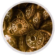 Golden Ufos From Egyptology  Round Beach Towel