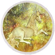 Golden Unicorn Dreams Round Beach Towel