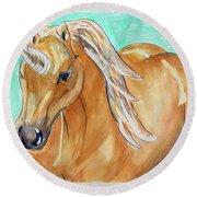 Golden Unicorn Round Beach Towel