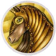 Golden Unicorn Warrior Art Round Beach Towel