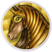Golden Unicorn Warrior Art Round Beach Towel