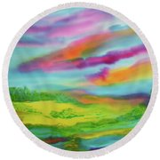Round Beach Towel featuring the painting Escape From Reality by Susan D Moody