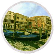 Round Beach Towel featuring the photograph Golden Venice by Anne Kotan
