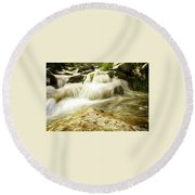 Golden Waterfall Round Beach Towel