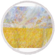 Golden Wheat Field Round Beach Towel