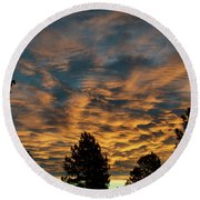 Golden Winter Morning Round Beach Towel