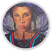 Blue Cat Productions  Golden Wodaabe Girl Round Beach Towel