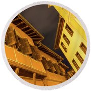 Golden Yellow Night - Chic Zigzags Of Oriel Windows And Serrated Roof Lines Round Beach Towel