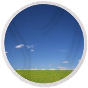 Golden Yellow Of Big Wheat Field,meadows And Closeup Seed With B Round Beach Towel