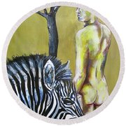 Golden Zebra High Noon Round Beach Towel
