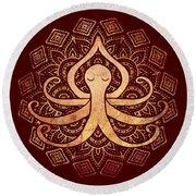 Golden Zen Octopus Meditating Round Beach Towel