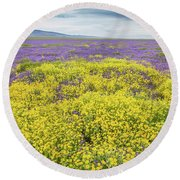 Round Beach Towel featuring the photograph Goldfield And Phacelia by Marc Crumpler