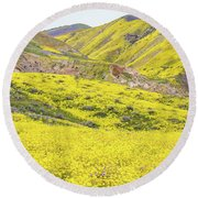 Goldfields And Temblor Hills Round Beach Towel
