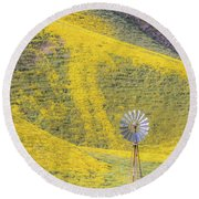 Goldfields And Windmill At Carrizo Plain  Round Beach Towel