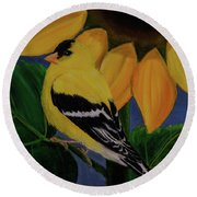 Goldfinch And Sunflower Round Beach Towel