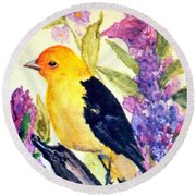 Round Beach Towel featuring the painting Goldfinch by Gail Kirtz
