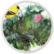 Round Beach Towel featuring the painting Goldfinch by Sherry Shipley