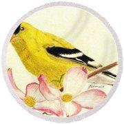 Goldfinch Spring Round Beach Towel