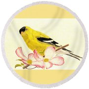 Goldfinch Spring Round Beach Towel by Angela Davies