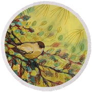 Goldfinch Waiting Round Beach Towel