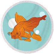 Goldfish And Bubbles Graphic Round Beach Towel